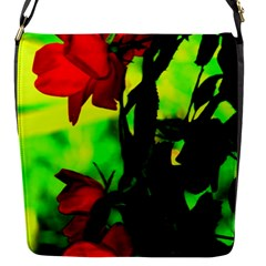 Red Roses And Bright Green 3 Flap Messenger Bag (s) by timelessartoncanvas
