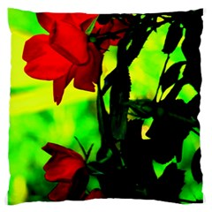 Red Roses And Bright Green 3 Standard Flano Cushion Case (two Sides) by timelessartoncanvas