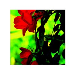 Red Roses And Bright Green 3 Small Satin Scarf (square) by timelessartoncanvas
