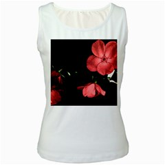 Mauve Roses 1 Women s White Tank Top by timelessartoncanvas