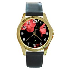 Mauve Roses 4 Round Gold Metal Watch by timelessartoncanvas