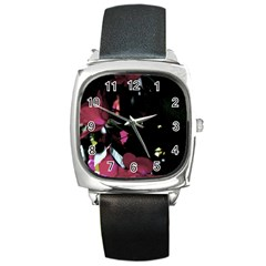 Mauve Pink Roses Square Metal Watch by timelessartoncanvas
