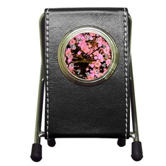 Little Mauve Flowers Pen Holder Desk Clocks by timelessartoncanvas