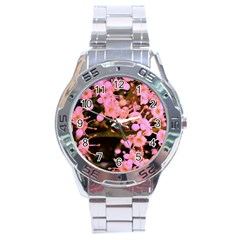 Little Mauve Flowers Stainless Steel Analogue Watch by timelessartoncanvas