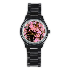 Little Mauve Flowers Stainless Steel Round Watch by timelessartoncanvas