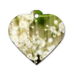 Little White Flowers Dog Tag Heart (two Sides) by timelessartoncanvas