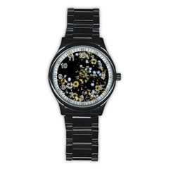 Little White Flowers 2 Stainless Steel Round Watch by timelessartoncanvas