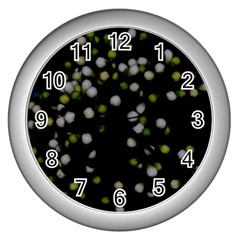 Little White And Green Dots Wall Clocks (silver)  by timelessartoncanvas