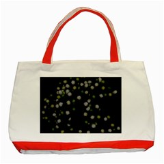 Little White And Green Dots Classic Tote Bag (red) by timelessartoncanvas