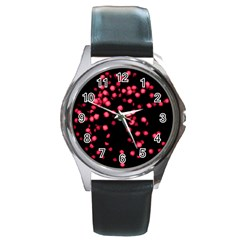 Little Pink Dots Round Metal Watch by timelessartoncanvas