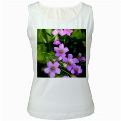 Little Purple Flowers Women s White Tank Top by timelessartoncanvas