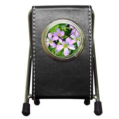 Little Purple Flowers 2 Pen Holder Desk Clocks by timelessartoncanvas