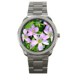 Little Purple Flowers 2 Sport Metal Watch by timelessartoncanvas