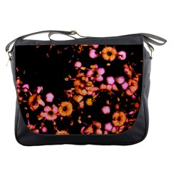 Little Peach And Pink Flowers Messenger Bags by timelessartoncanvas