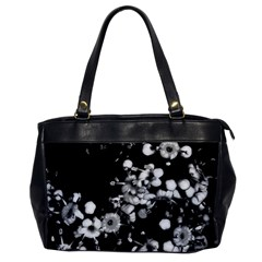 Little Black And White Flowers Office Handbags by timelessartoncanvas