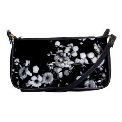 Little Black And White Flowers Shoulder Clutch Bags by timelessartoncanvas