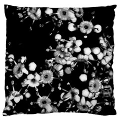 Little Black And White Flowers Large Cushion Case (two Sides) by timelessartoncanvas
