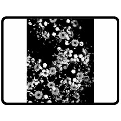 Little Black And White Flowers Double Sided Fleece Blanket (large)  by timelessartoncanvas