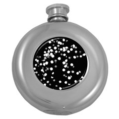 Little Black And White Dots Round Hip Flask (5 Oz) by timelessartoncanvas