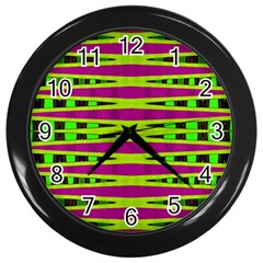 Bright Green Pink Geometric Wall Clocks (black) by BrightVibesDesign