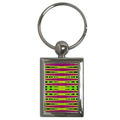 Bright Green Pink Geometric Key Chains (rectangle)  by BrightVibesDesign
