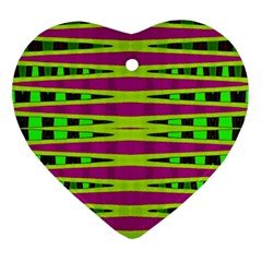 Bright Green Pink Geometric Heart Ornament (2 Sides) by BrightVibesDesign
