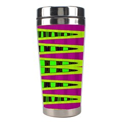 Bright Green Pink Geometric Stainless Steel Travel Tumblers by BrightVibesDesign