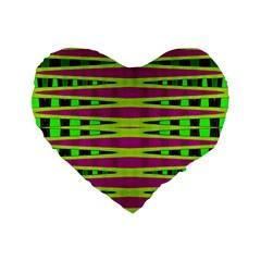 Bright Green Pink Geometric Standard 16  Premium Flano Heart Shape Cushions by BrightVibesDesign