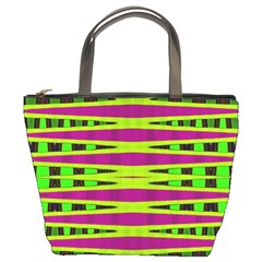 Bright Green Pink Geometric Bucket Bags by BrightVibesDesign