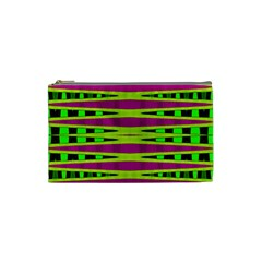 Bright Green Pink Geometric Cosmetic Bag (Small)  by BrightVibesDesign