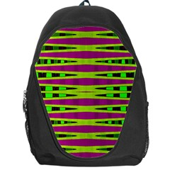 Bright Green Pink Geometric Backpack Bag by BrightVibesDesign