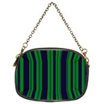 Dark Blue Green Striped Pattern Chain Purses (Two Sides)