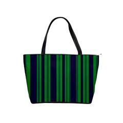 Dark Blue Green Striped Pattern Shoulder Handbags by BrightVibesDesign
