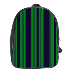 Dark Blue Green Striped Pattern School Bags(large)  by BrightVibesDesign