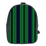 Dark Blue Green Striped Pattern School Bags(Large)