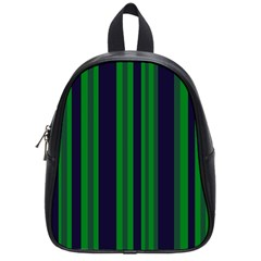 Dark Blue Green Striped Pattern School Bags (small)  by BrightVibesDesign