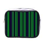 Dark Blue Green Striped Pattern Mini Toiletries Bags