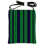 Dark Blue Green Striped Pattern Shoulder Sling Bags