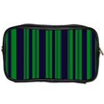 Dark Blue Green Striped Pattern Toiletries Bags 2-Side