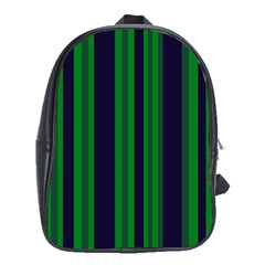 Dark Blue Green Striped Pattern School Bags (xl)  by BrightVibesDesign