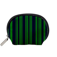 Dark Blue Green Striped Pattern Accessory Pouches (small)  by BrightVibesDesign