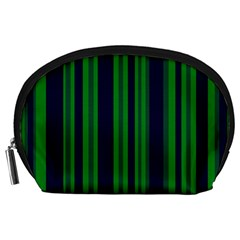 Dark Blue Green Striped Pattern Accessory Pouches (large)  by BrightVibesDesign