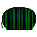 Dark Blue Green Striped Pattern Accessory Pouches (Large)