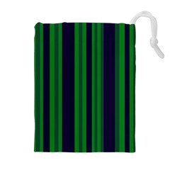 Dark Blue Green Striped Pattern Drawstring Pouches (Extra Large) by BrightVibesDesign