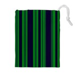 Dark Blue Green Striped Pattern Drawstring Pouches (Extra Large)