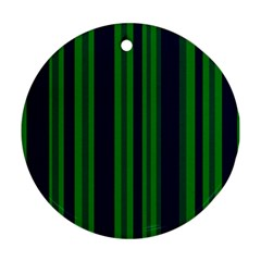 Dark Blue Green Striped Pattern Round Ornament (two Sides)  by BrightVibesDesign
