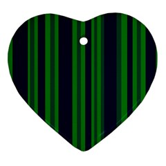 Dark Blue Green Striped Pattern Heart Ornament (2 Sides) by BrightVibesDesign