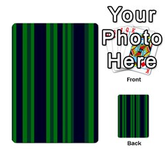 Dark Blue Green Striped Pattern Multi-purpose Cards (Rectangle)  by BrightVibesDesign