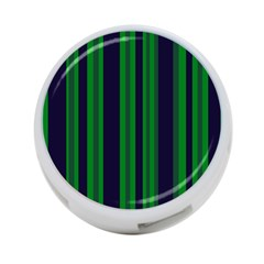 Dark Blue Green Striped Pattern 4 Port Usb Hub (two Sides)  by BrightVibesDesign