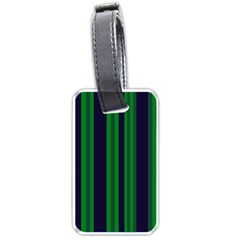 Dark Blue Green Striped Pattern Luggage Tags (two Sides) by BrightVibesDesign